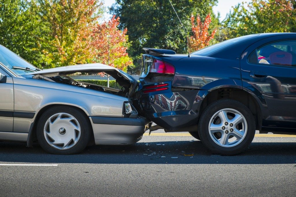 Two cars involved in an accident