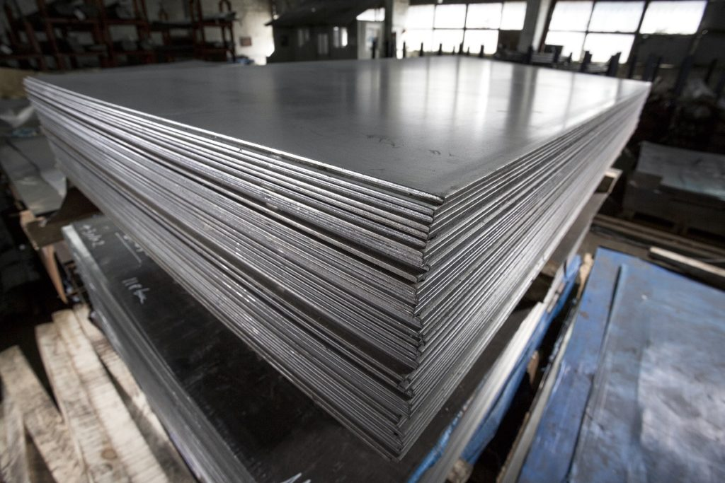 Stacked stainless steel sheets