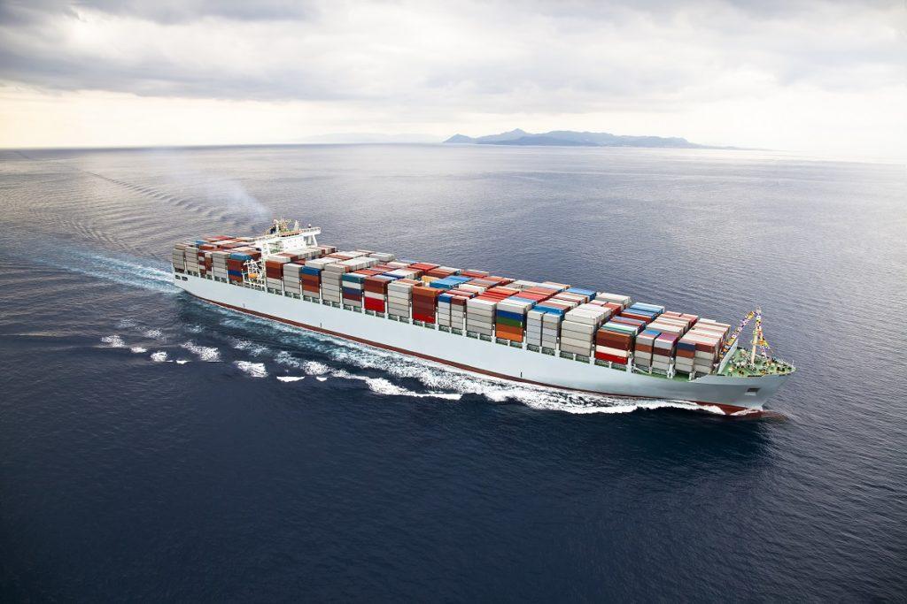 cargo ship sailing in the ocean