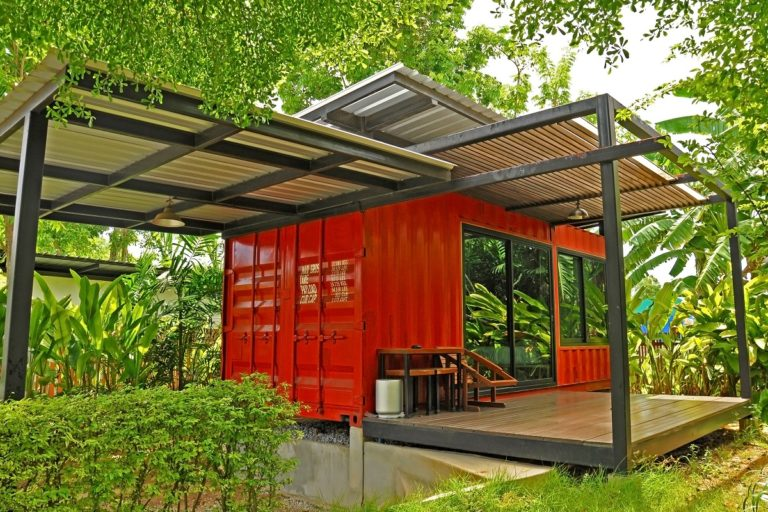 red container house in the garden
