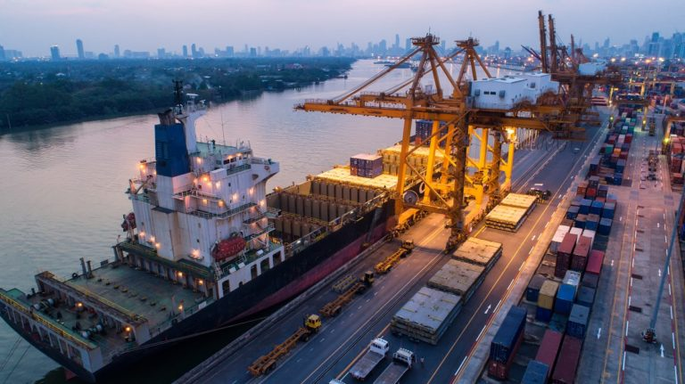 Top view cargo ship with cranes