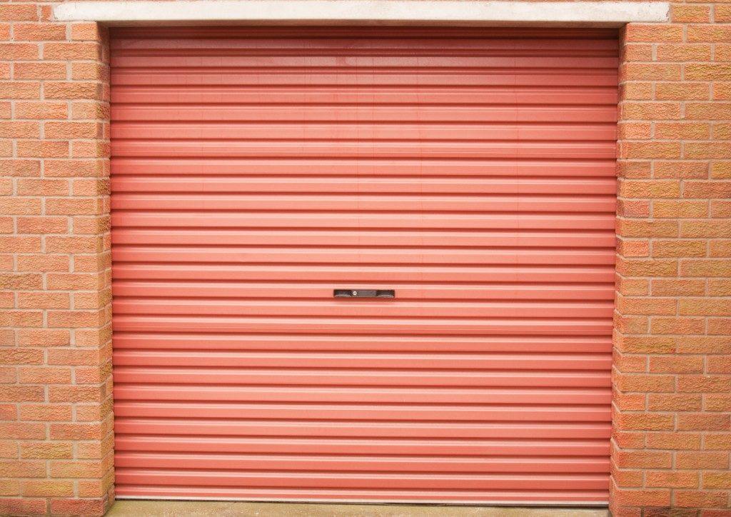 Roller garage door in red