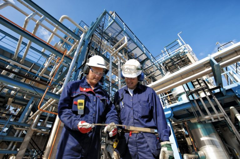 engineers in an oil rig