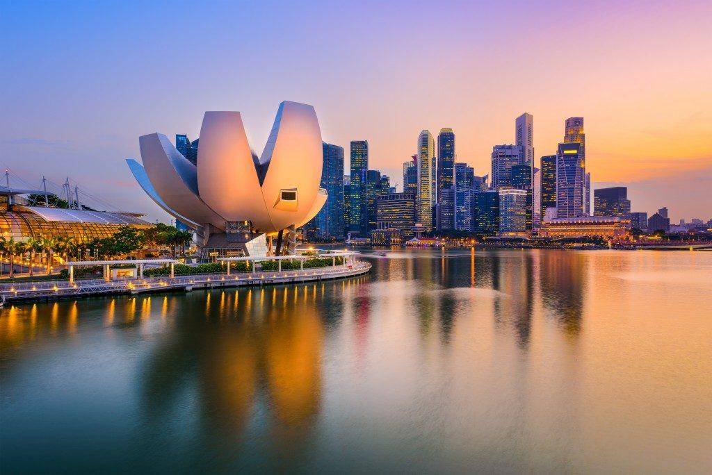 Singapore skyline at the Marina during twilight