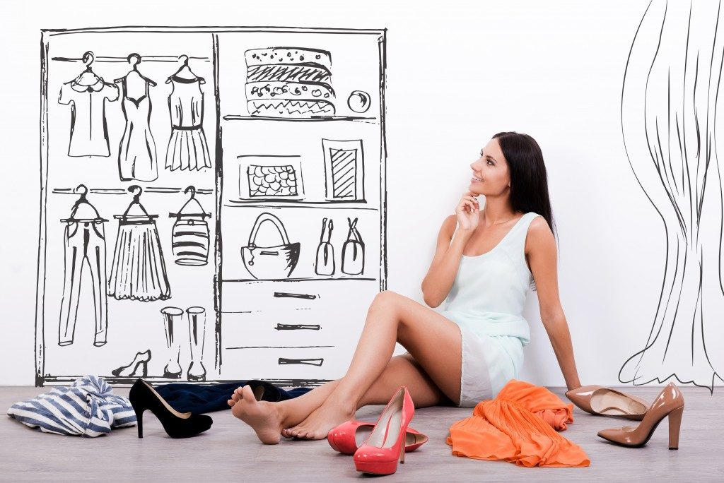 Woman thinking of what to wear