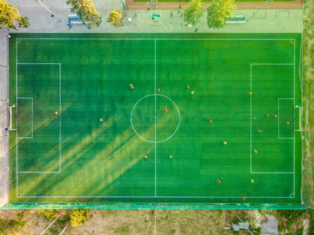 playing football on a field