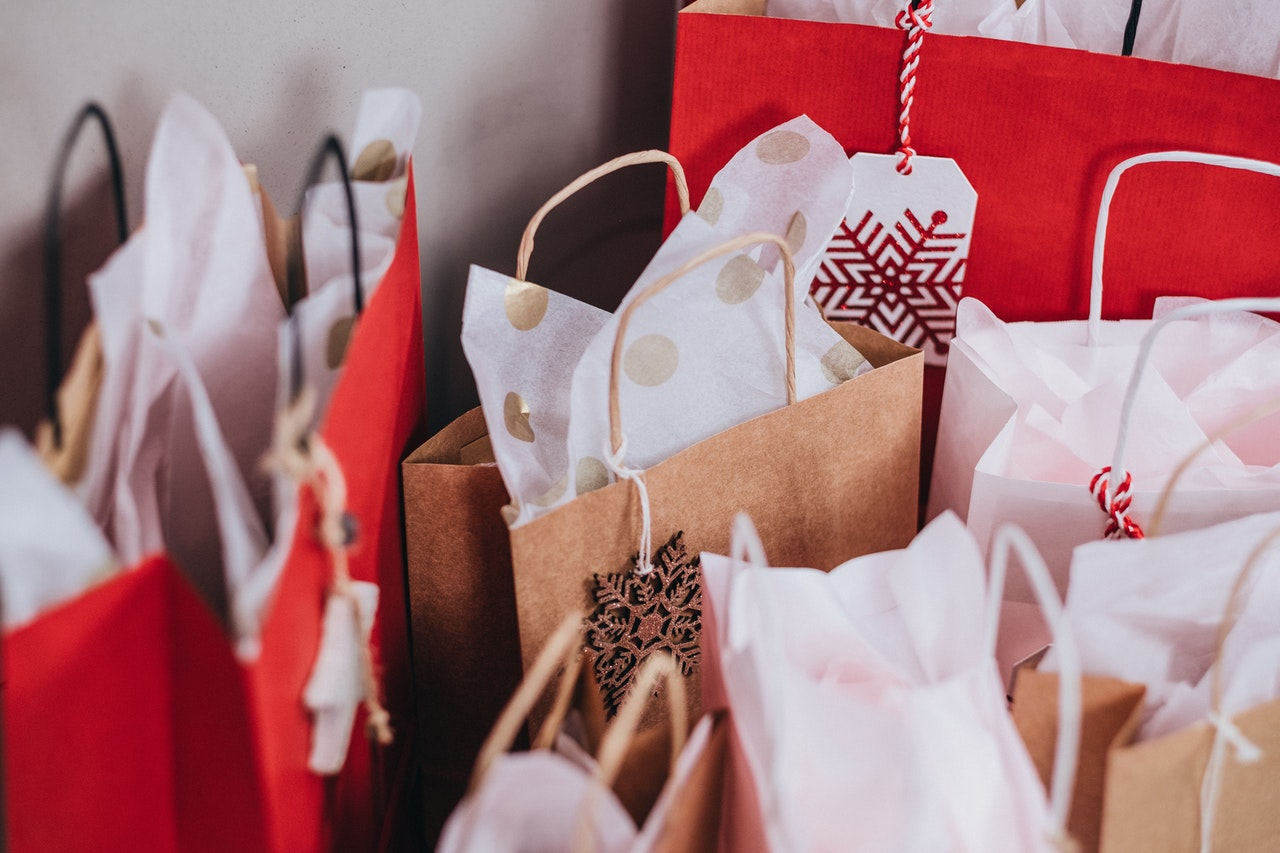 paper bags with gifts