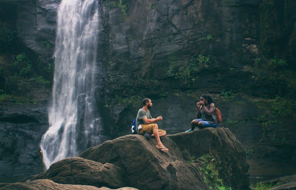 couple at waterfalls